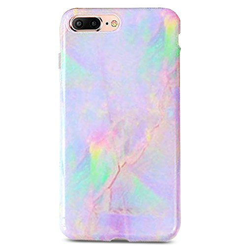 - J.west iPhone 8 Plus Case, iPhone 7 Plus Case, Marble Printed Clear Bumper Slim TPU Soft Rubber Silicone Cover Anti-Scratch Thin Back Protective Phone Case Cover for Apple iPhone 7 Plus/8 Plus Purple