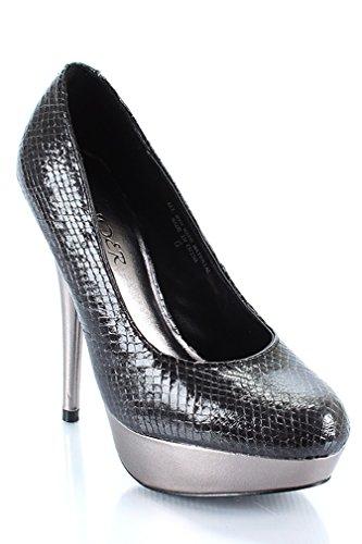 Zapatos De Mujer De Plataforma De Tacón Alto Metálico Y Vegano Con Tacón Negro