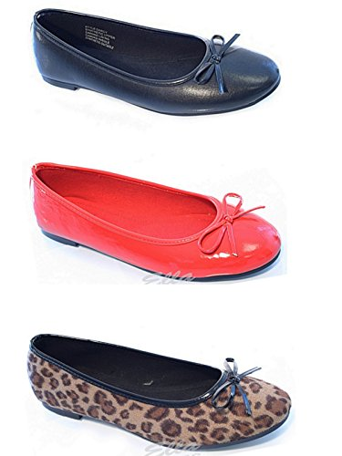 Flat Ballet On Shoes Dolly Pumps Ladies Slip Leather Black Office Work 3 School 8 Ballerina Faux ELLA Bow YqCYxf8pw
