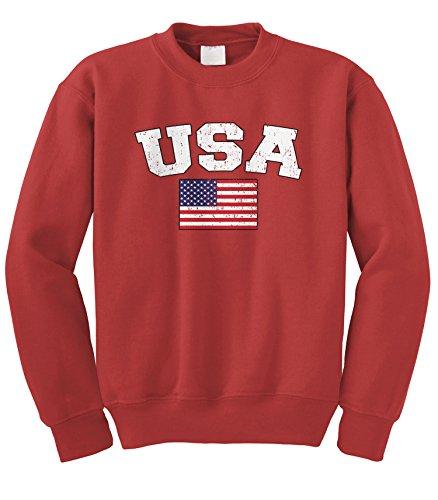 (Cybertela Faded Distressed USA Flag Crewneck Sweatshirt (Red, Medium))