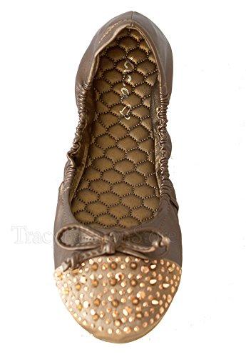 Xica Jyden-03 Scarpa Da Donna Piatta Slip-on Morbida Suola Piatta Con Borchie In Elastico Color Champagne