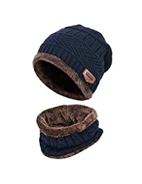 Aispark Kids Winter Knitted Beanie Hat and Scarf Set with Fleece Lining for boys girls (Blue)