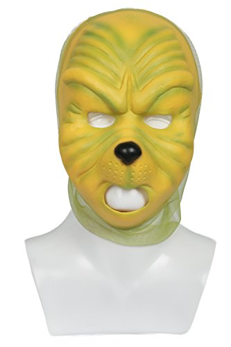 Grinch Mask Deluxe Green Latex Mask How the Grinch Stole Christmas Cosplay (Grinch Halloween Makeup)