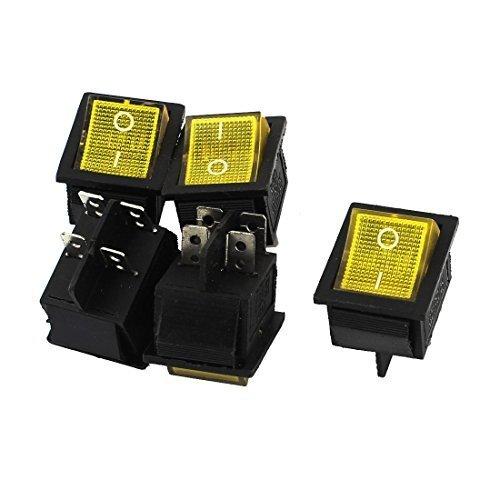 AC 250V / 125V 15A / 20A DPST 4Pin Solder gelbe Lampe Wippschalter 5Pcs, Modell: