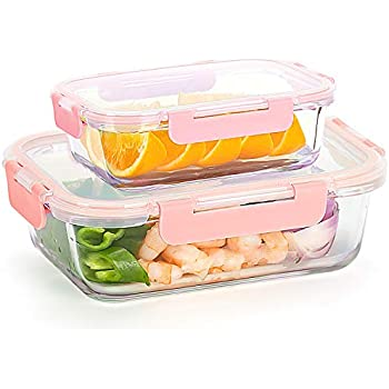 [Buy 1 Get 1 Free] Glass Containers with Locking Lids Airtight For Food Storage, Meal Prep, Glass Lunch Containers Set (34oz+12oz)