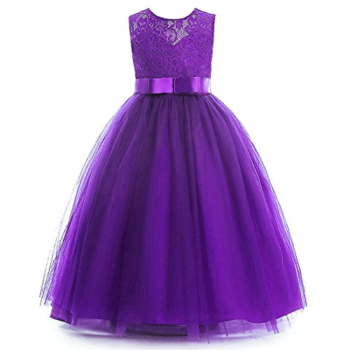 Glamulice Girls Lace Bridesmaid Dress Long A Line Wedding Pageant Dresses Tulle Party Gown Age 3-14Y (5-6Y, Purple) (Gown Long Purple)