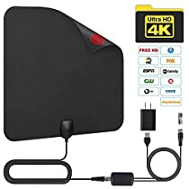 TV Antenna Indoor Amplified Digital Indoor HDTV Antenna Long 50-80 Miles Range Support 4K 1080p Powerful Amplifier Signal Booster for 1080P 4K Free TV Channels 16.5ft Coax Cable