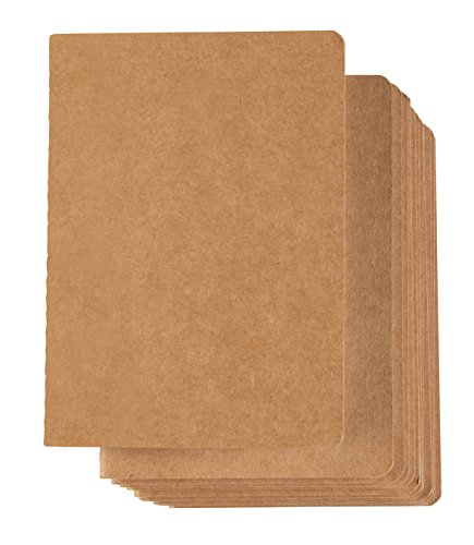 Kraft Notebook - 12-Pack Lined Notebook Journals, Pocket Journal for Travelers, Diary, Notes - A6 Size, Soft Cover, 80 Pages, Brown, 5.7 x 4.13 Inches