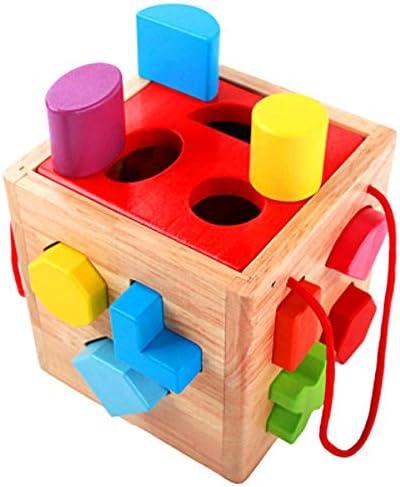 積み木 ブロック キッド3-12歳ポータブル木製形状幾何学的マッチングビルディングブロックパズルビルディングブロック子供のおもちゃ 知育玩具 子供用 (Color : Multi-colored, Size : One size)