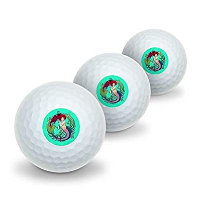 GRAPHICS & MORE Mermaid Holding Trident Circle Art Nouveau Kelp Novelty Golf Balls 3 Pack