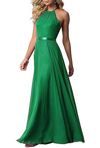 Changuan Sexy En Mousseline De Demoiselle D'honneur De Mariage Licol Robe Longue Robes De Soirée Simple Bal Vert