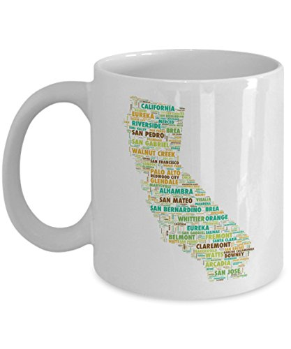 California Cities In The Shape Of The State 11 oz Coffee - Centros Sacramento