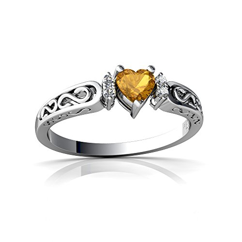 14kt White Gold Citrine and Diamond 4mm Heart filligree Scroll Ring - Size 8