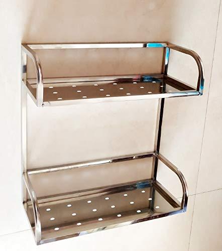 Design : Rectangle Pratico Cestello portaoggetti da bagno in acciaio inox con doppio ripiano Cestello portaoggetti rettangolare a forma di cavalletto durevole