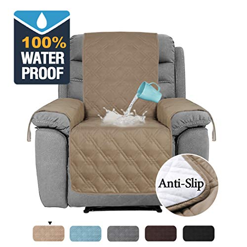 H.VERSAILTEX 100% Waterproof Recliner Protector Non-Slip Furniture Cover for Recliner Chair, Sofa Protector Recliner Chair Cover Stay in Place Protect from Pets Spills (Recliner Medium: Taupe)