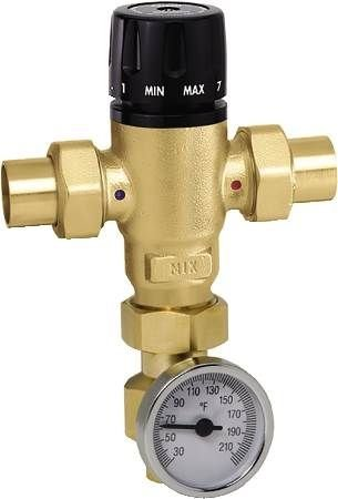 1 inch Sweat MIXCAL 3-Way Thermostatic Mixing Valve with Temperature Gauge 521619A (Caleffi Mixing)