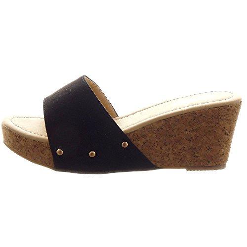 Sopily - Scarpe da Moda sandali Zeppe alla caviglia donna borchiati Tacco zeppa piattaforma 8 CM - Nero