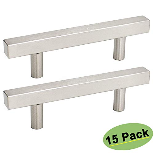 homdiy Cabinet Handles Brushed Nickel Cabinet Pulls 3.75 in Drawer Pulls 15 Pack - HDJ22SN Kitchen Cabinet Pulls Brushed Nickel Cabinet Hardware Pulls Square Drawer Pulls for Kitchen Cabinets