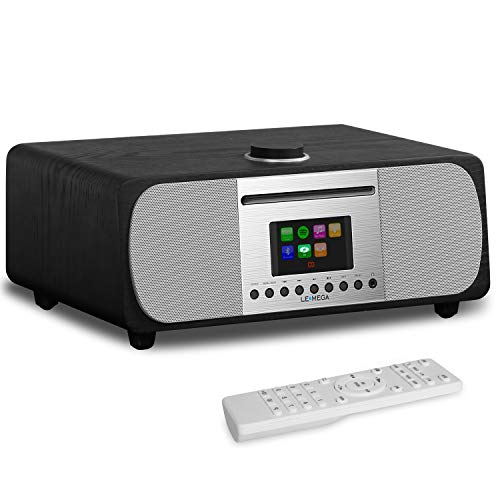 LEMEGA M5+ All-In-One HIFI Music System with CD Player, Internet Radio, FM Radio, Spotify, Bluetooth, WIFI, 2.1 Channel Stereo Speaker, Headphone-out, USB MP3, AUX-in, App & Remote Control (Black Oak)