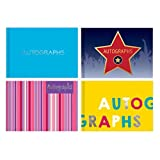 The Home Fusion Company Autograph Book Padded Blank School Leavers Leaving Pink Stripes Plain Blue Star & Yellow Large Font