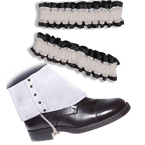 Roaring 20's Armband Garter & Gangster Spats Set for 1920s Mens Accessory,White Spats & Black/White Garter -