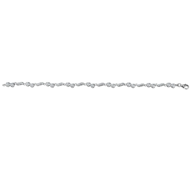 "White Diamond Platinum over .925 Silver Heart Ankle Bracelet (.13 cttw, I Color, I1 Clarity) 9"""