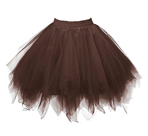Dressever Vintage 1950s Short Tulle Petticoat Ballet Bubble Tutu Brown Small/Medium