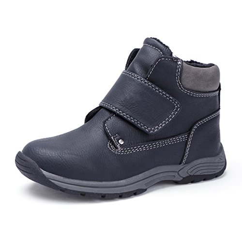 BTDREAM Boy's Snow Ankle Boots Fur Lined Waterproof Warm Winter Outdoor Walking Shoes Dark Blue Size 33