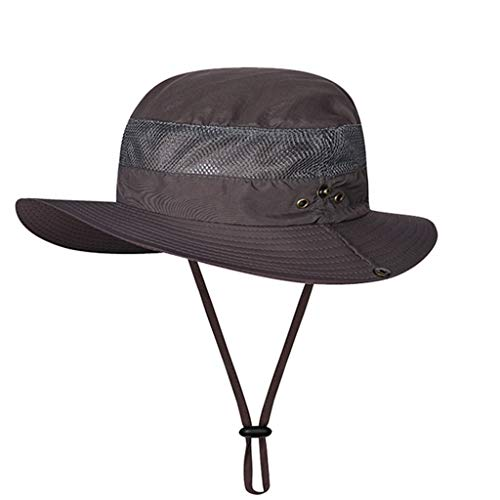(LUXISDE Hat Women Summer Sun Windproof Fishing Hats Wide Brim Sun Protection Hat Outdoor Mesh Fishing Cap76)
