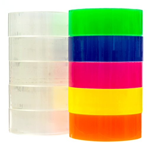 Transparent tape 10 Rolls | Bundle Pack 5 Clear + 5 colors Yellow Orange, Pink, Blue, Green | 3/4inch by 1,150 inches each | Safe & Great for arts and crafts Students , office, mail ,Construction Photo #3