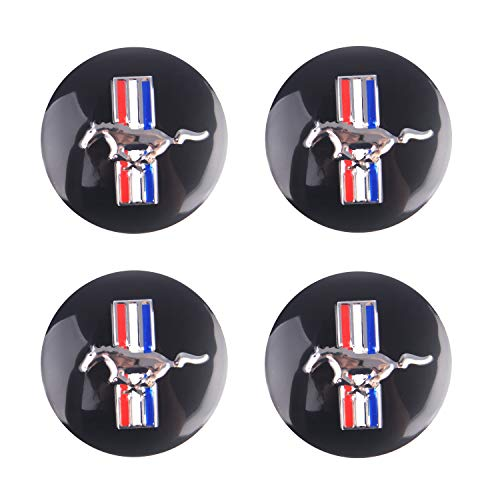 - MonboAuto 4PCS 56.5mm 2.2'' Emblem Badge Sticker Wheel Hub Caps Centre Cover fit for Ford Mustang Cobra Jet Shelby Black
