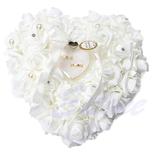 Bruukesh Wedding Ring Pillow, White Ring Pillow for Wedding Lace Crystal Rose Heart Ring Box Wedding ()