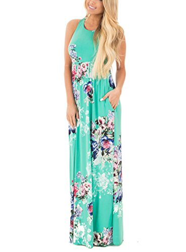(Jug&Po Women's Floral Print Sleeveless Long Maxi Casual Dress (Large, Green 1))