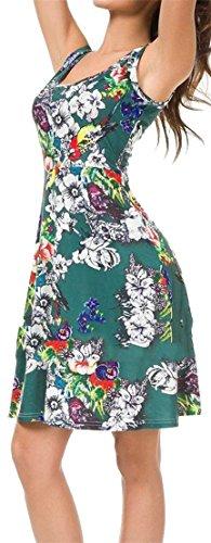 Crewneck Swing Womens Dress Cromoncent Sexy Floral Mini Print Sundress Pleated Green tYt6wq