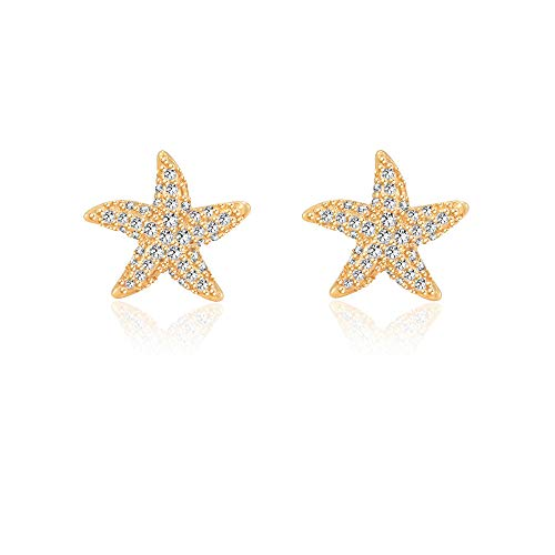 Starfish Earrings Gold Hypoallergenic Stud Earrings for Women Girls for Sensitive Ears Nickel Free Dainty Studs Nautical Fashion Beach Wedding Jewelry -