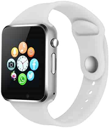 Smart Watch - 321OU Touch Screen Bluetooth Smart Watch Smartwatch Phone Fitness Tracker SIM SD Card Slot Camera Pedometer Compatible iPhone iOS Samsung LG Android Men Women Kids (White)