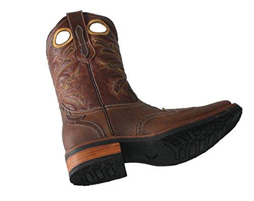 Mens Arbetar Rodeo Läder Cowboy Västra Mc Stövlar Ljusbrun