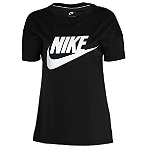 NIKE Women's Signal Logo Sports Casual T-Shirt-Black-Small