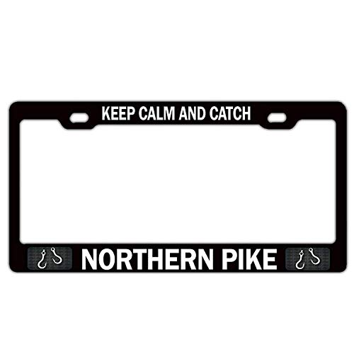 - LANGZI GT Personalized car Anodized Aluminum Custom Design Frame Love License Plate Frame 12 × 6 inches Keep Calm and Catch Northern Pike Fishing Fisherman(2)