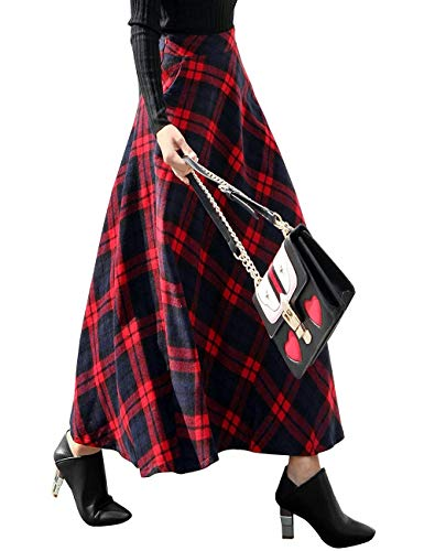 Tartan Wool Skirt - Daxvens Women Long Plaid Skirt with Pockets, Wool Blend High Waist A Line Midi Tartan Flare Swing Skirts Red
