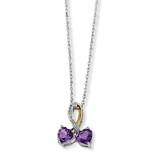 Chain Heart Amethyst (Solid 925 Sterling Silver & 14K Simulated Amethyst and Diamond Heart Necklace Chain (1.2mm))