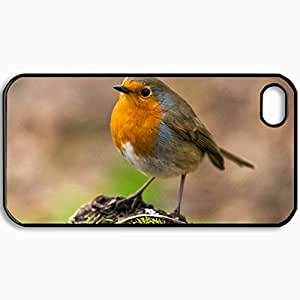 Customized Cellphone Case Back Cover For iPhone 4 4S, Protective Hardshell Case Personalized Bird Black
