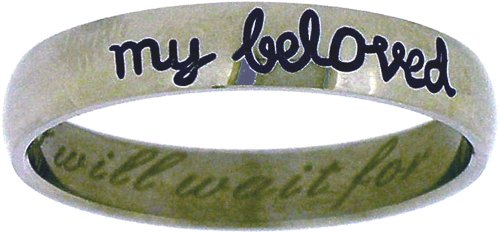 """Solid Rock Jewelry STAINLESS STEEL CURSIVE """"I will wait for my beloved"""" CHRISTIAN PURITY RING STYLE 368-SIZE 7 from Solid Rock Jewelry"""