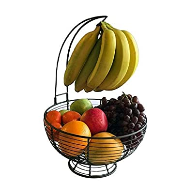 Fruit Basket With Banana Hanger - Regal Trunk Rustic French Farmhouse Fruit Bowl With Banana Tree Hangar | Vegetable and Fruit Bowl With Detachable Banana Stand | Countertop Fruit Bowl Centerpiece