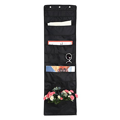 Wall File Organizer Oxford Cloth Hanging Folder Storage with 10 Large Deep Pockets and 3 Hooks For Home Classroom Office - Best Storage Pocket Chart - Black by Greensen