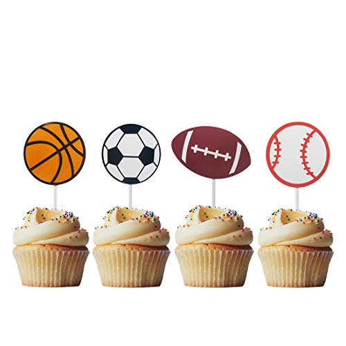 Morndew 20 PCS Sports Fan with Basketball Baseball Soccer Volleyball Cupcake Toppers for Theme Party Birthday Party Wedding Party Decorations]()