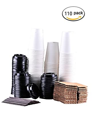 springpack Disposable Coffee Cups To Go with Travel Lids Sleeves and Straws 100% Biodegradable & Compostable Pla Eco Friendly Paper Coffee Cups 110 Sets of 12 oz