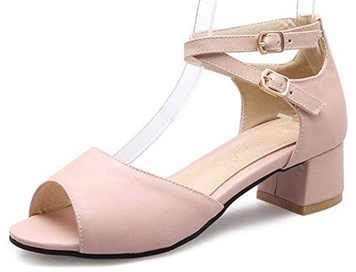 Easemax Kvinners Klassiske Langrenns Ankel Strap Peep Toe Sandaler Midten Chunky Hæler Pink