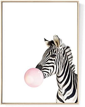 TOOGOO Kawaii Animal Cebra Poster de Impresion de Arte Pintura de Lona nordica Cuadro de Pared Decoracion de habitacion (sin Marco) 30cm * 40cm