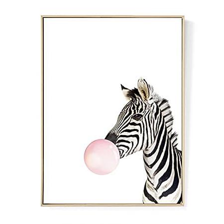 TOOGOO Kawaii animale zebra Nordic pittura della tela Stampa artistica poster da parete Immagine Room Decor (senza cornice) 30cm*40cm